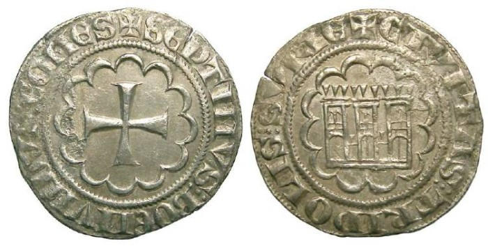 Ancient Coins - Crusaders in Tripoli. Bohemond VII, AD 1275-1287. Silver Gros.