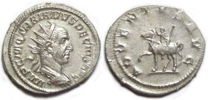 Ancient Coins - Trajan Decius, AD 249-251. Silver Antoninianus.  Great portrait style.