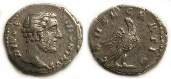 Ancient Coins - Antoninus Pius, Divus.  AD 161.  Silver denarius