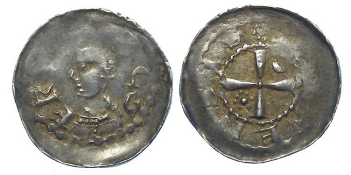 Ancient Coins - French Feudal.  Metz Bishopric.  Frederick of Pluvoise, AD 1171 to 1173.   Silver denier.