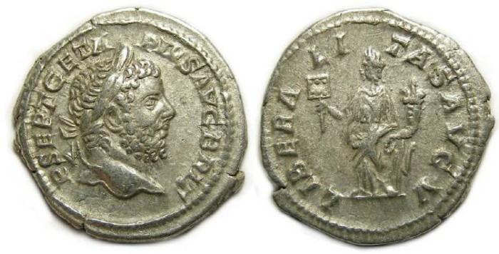 Ancient Coins - Geta, AD 198 to 209, Silver denarius.