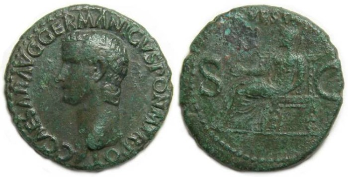 Ancient Coins - Caligula, AD 37 to 41. Copper As, S-1803