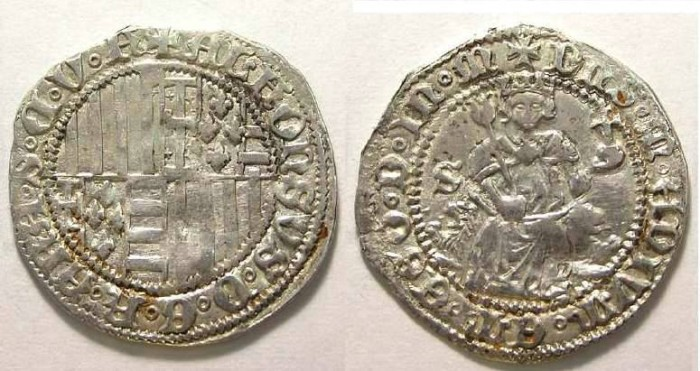 Ancient Coins - Italy, Naples and Sicily United. Alphonso, AD 1435 to 1438. Silver Carlino