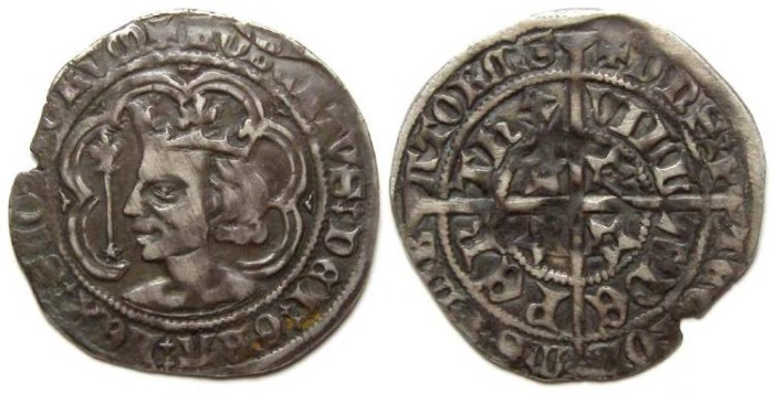 Ancient Coins - Scotland, Robert II, AD 1371 to 1390. Silver Groat