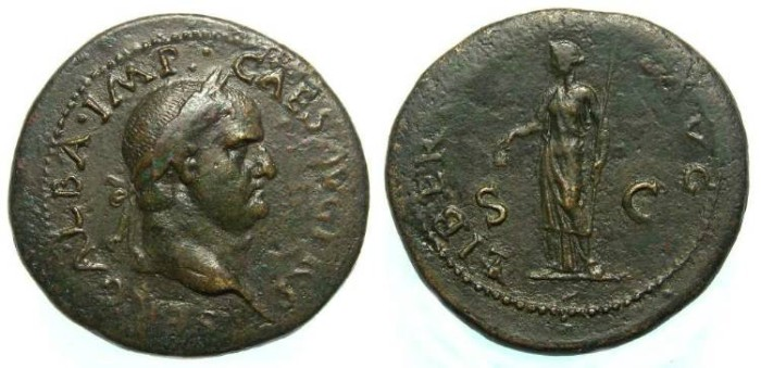 Ancient Coins - Galba, AD 68 to 69. AE sestertius.