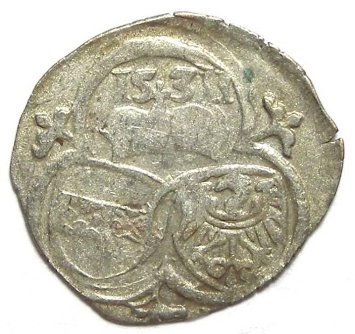 Ancient Coins - Austria, Silesia.  Ferdinand I, Ad 1526 to 1564. Billon 2 pfennig.  Dated 1531.