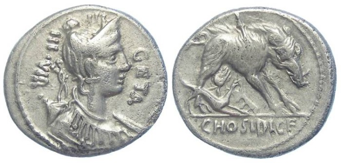 Ancient Coins - Roman Republic. C. Hosidius c.f. Geta.  ca. 68 BC. Silver Denarius.