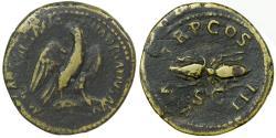 Ancient Coins - Hadrian, AD 117-138.  AE Quadrans or Semis.