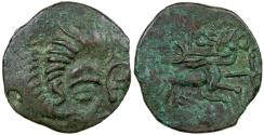 Ancient Coins - British/Gaul, Celtc. Coriosolite (Armorican). ca. 56 BC. Billon stater.