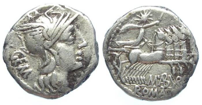 Ancient Coins - Roman Republic. M Aburius M.f. Geminus. Silver denarius. ca. 132 BC.