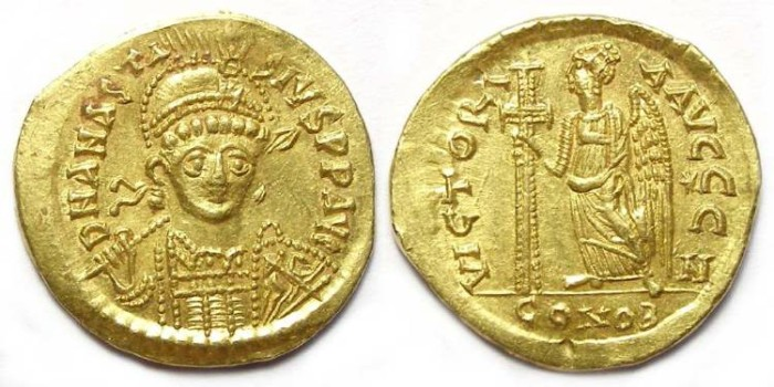 Ancient Coins - Byzantine / Roman,  Anastasius. AD 492 to 518. Gold solidus.