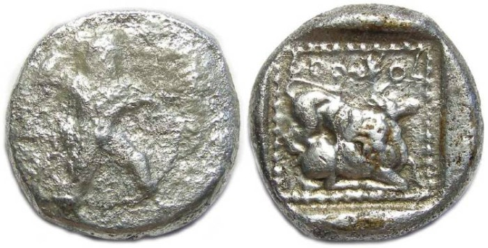 Ancient Coins - Citiun in Cyprus. King  Azbaal. ca. 449 to 425 BC. Silver stater.