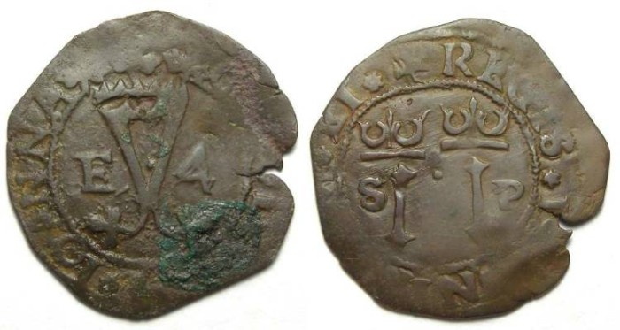 Ancient Coins - Spanish Colonial. Santa Domingo. ca. AD 1540's to 1550's. AE 4 maravedes. First Coin of the Caribbean.