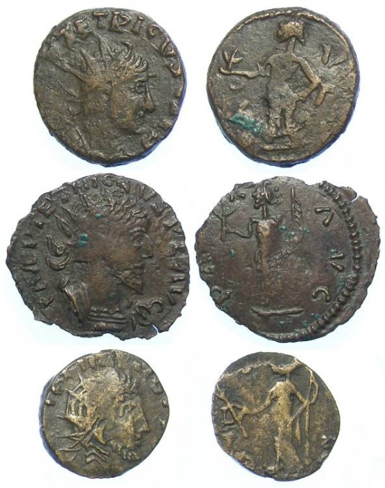 Ancient Coins - Lot of 3 coins. Barbarous Radiates of Tetricus I and II. ca. AD 270's.