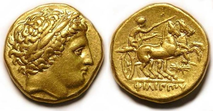 Ancient Coins - Macedonian Kingdom, Philip II, 359 to 336 BC. Gold Stater.