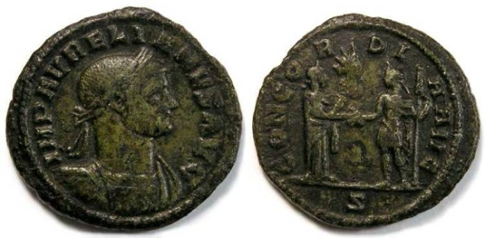 Ancient Coins - Aurelian, AD 270-275. Bronze As.