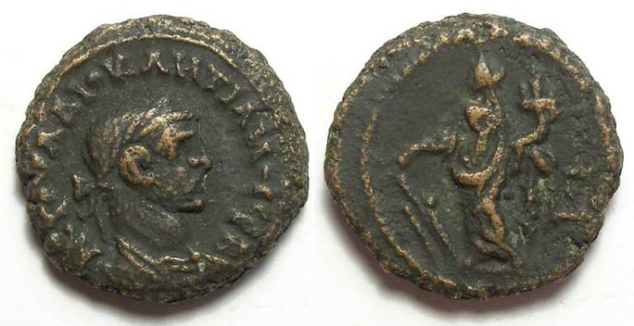 Ancient Coins - Alexandria, Diocletian, AD 284 to 305, Yr-3 potin tetradrachm. 19 mm.