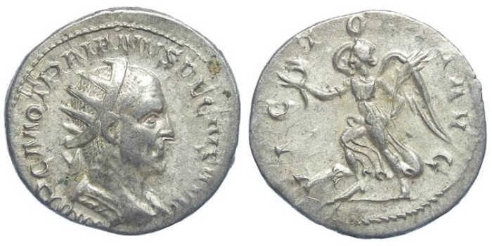 Ancient Coins - Trajan Decius, AD 249-251. Silver Antoninianus