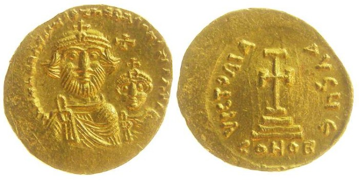 Ancient Coins - Byzantine. Constans II and Constantine IV. AD 654 to 549. Gold solidus.