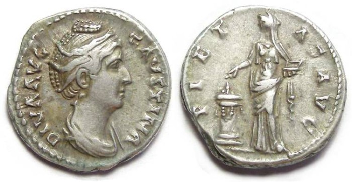 Ancient Coins - Diva Faustina Senior. after AD 141. Silver denarius.