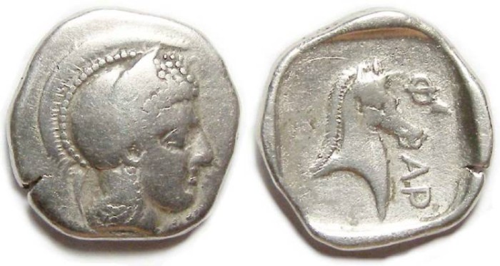 Ancient Coins - Pharsalos in Thessly. ca. 480 to 450 BC. Silver hemidrachm.