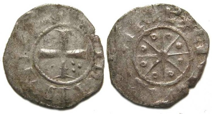 Ancient Coins - Crusaders in Tripoli.  Bohemond V, AD 1233-1251.  Silver denier