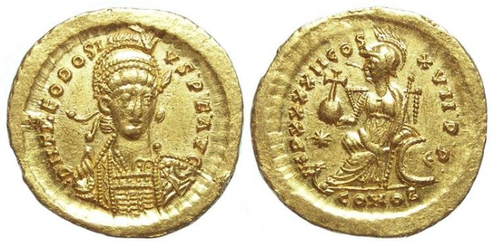 Ancient Coins - Theodosius II, AD 402 to 450. Gold solidus.