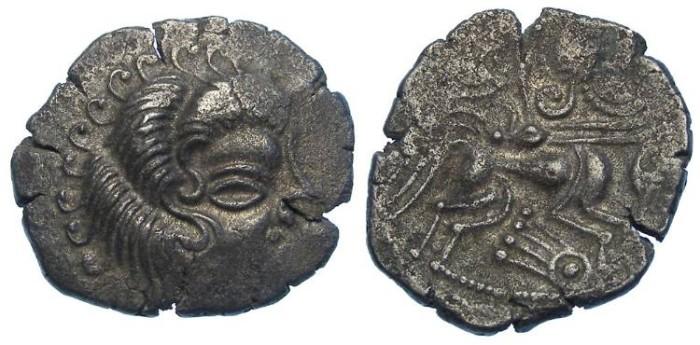Ancient Coins - British/Gaul. Coriosolite (Armorican). ca. 56 BC. billon stater.