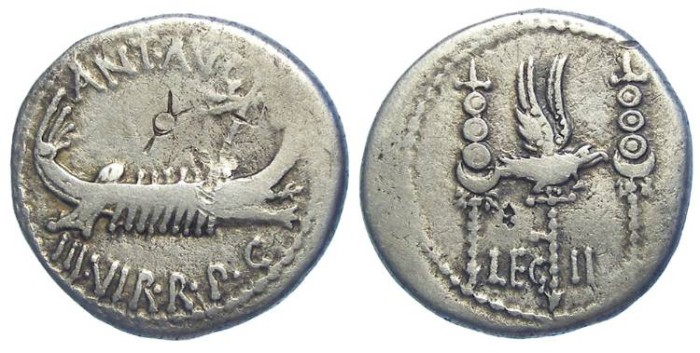 Ancient Coins - Mark Antony. 32 to 31 BC. Legionary denarius (legion II).