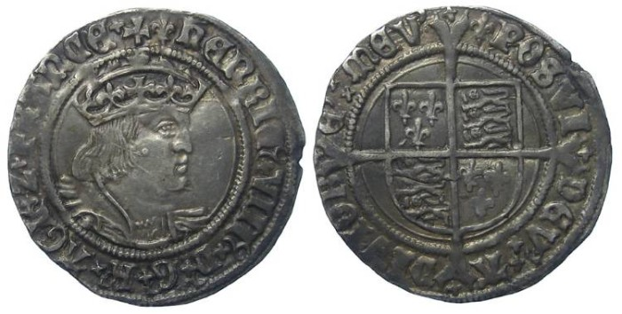 Ancient Coins - English, Henry VIII, AD 1509 to 1547. Silver groat.
