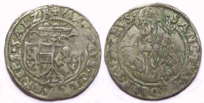 World Coins - Austria. Salzburg. Matthaus Lang von Wellenburg, AD 1523. Silver Batzen.