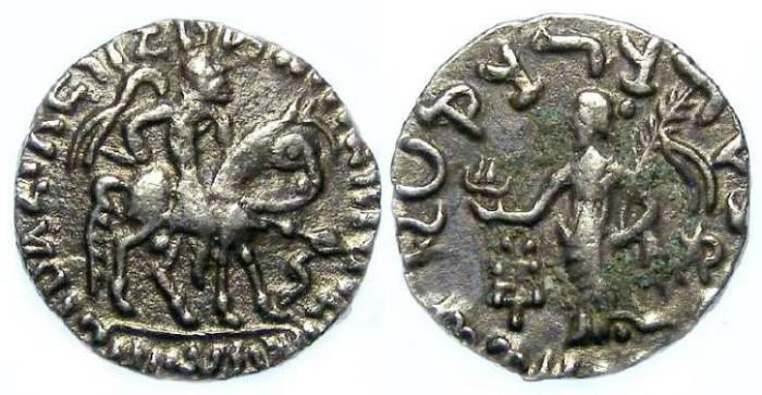 Ancient Coins - Indo-Greek, Scythian Kingdom of Pakistan, Azes I, 57 TO 35 BC. Silver drachm.