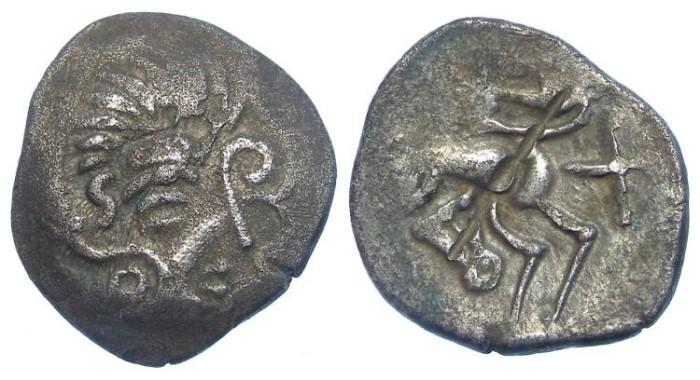 Ancient Coins - British/Gaul, Celtc. Coriosolite (Armorican). ca. 56 BC. Billon stater.