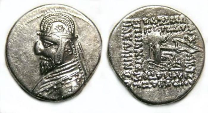 Ancient Coins - Parthia, Orodes I, 90 to 77 BC. Silver drachm.