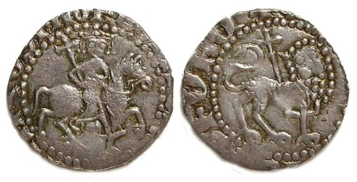 Ancient Coins - Armenian, Levon II, AD 1270 to 1289. Silver 1/2 Tram struck with full Tram dies.