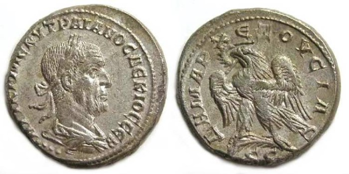 Ancient Coins - Trajan Decius, AD 249 to 251.  Billon tetradrachm from Antioch.
