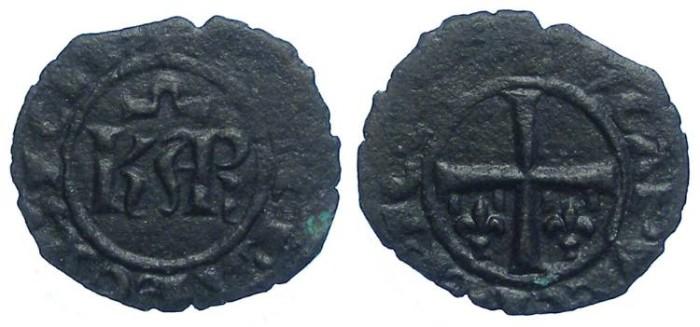 Ancient Coins - Italy. Kingdom of Sicily. Charles I of Anjou. AD 1266 to 1282. Billon Denaro.