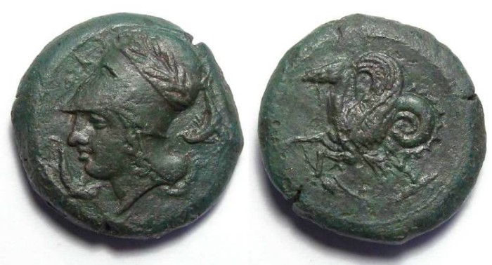 Ancient Coins - Syracuse in Sicily. Time of Dionysios I, ca. 405 to 367 BC.  Bronze Litra.