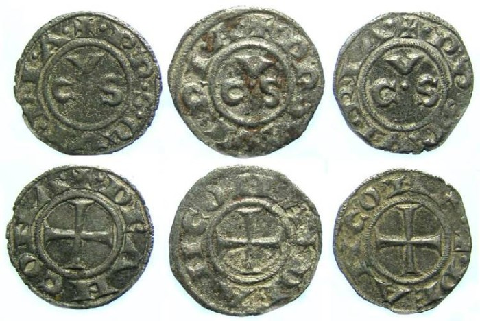 Ancient Coins - Italy, Ancona. 13th to 15th century Anonymous billon denaro. DEALER LOT OF 3 COINS.