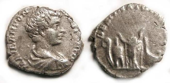 Ancient Coins - Caracalla as Caesar, AD 195 to 198, Silver denarius.