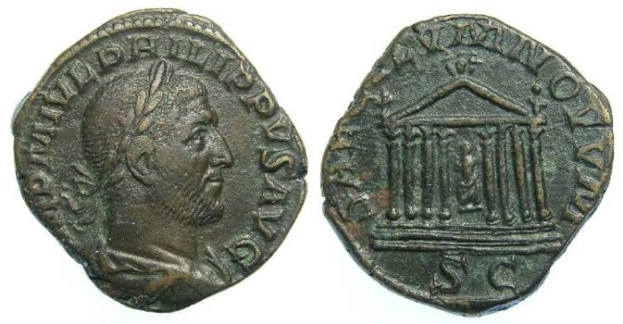 Ancient Coins - Philip I, AD 244-249. Bronze sestertius.