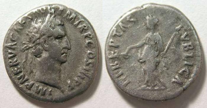 Ancient Coins - Nerva. AD 96 to 98, Silver denarius