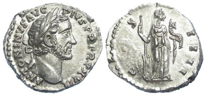 Ancient Coins - Antoninus Pius.  AD 138 TO 161. Silver denarius.