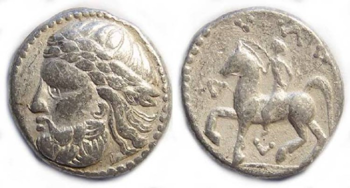Ancient Coins - Eastern (Pannonian) Celtic silver tetradrachm imitating Philip II.