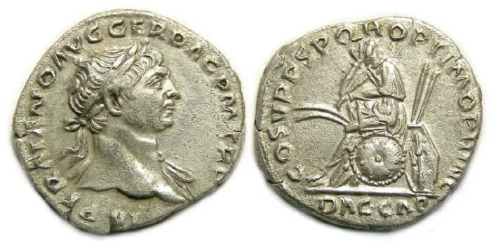 Ancient Coins - Trajan, AD 98 to 117. Silver denarius.  DACIA CAPTA.