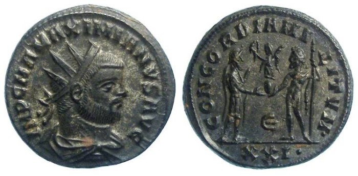 Ancient Coins - Maximianus, first reign, AD 286 to 305. Pre-reform Antoninianus.