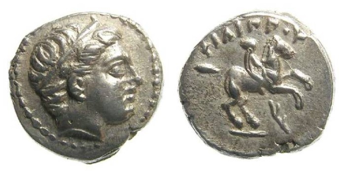 Ancient Coins - Macedonian Kingdom, Philip II, 359 to 336 BC. Silver 1/5 stater.