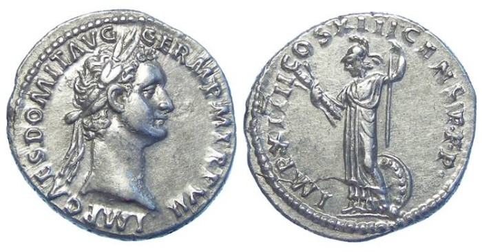 Ancient Coins - Domitian, AD 81 to 96. Silver denarius