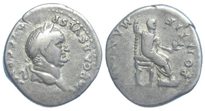 Ancient Coins - Vespasian, AD 69-79. Silver denarius.