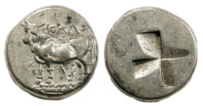 Ancient Coins - Kalchedon in Bithynia.  Silver siglos.  early 4th century BC.